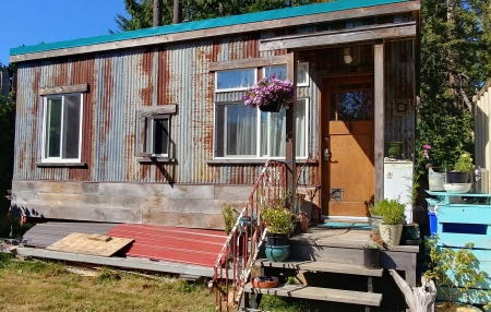 tiny house life, galiano island, tiny house, small space, cabin, post and beam, rustic, patina, metal, upcycled, permaculture, off grid